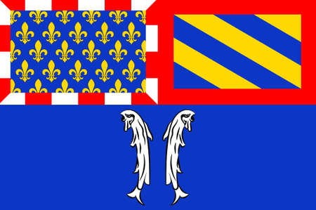 Flag of Montbard is a commune and subprefecture of the Cote-dOr department in the Bourgogne region in eastern France. 3D illustration