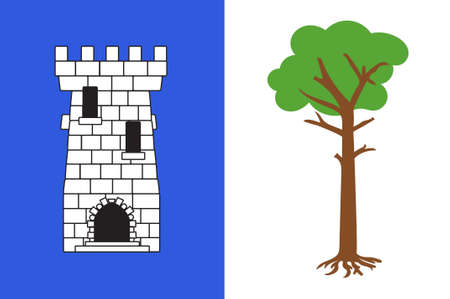 Flag of La Tour-du-Pin is a commune in the Isere department in southeastern France. 3D illustration Stock Photo