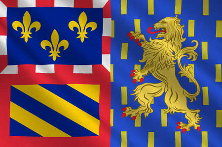 Flag of Bourgogne-Franche-Comte is a Region of France created by the territorial reform of French Regions in 2014 by the merger of Burgundy, and Franche-Comte. 3D illustration Stock Photo