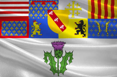 Flag of Nancy is the capital of the north-eastern French department of Meurthe-et-Moselle. 3d illustration Stock Photo