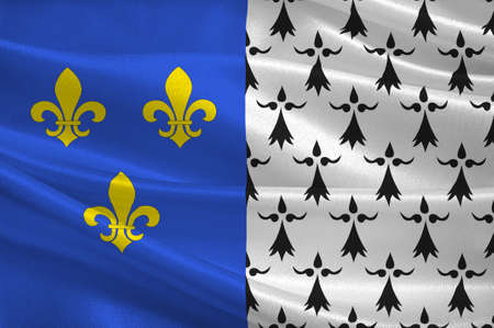 bretagne: Flag of Brest is a city in the Finistere departement in Brittany in northwestern France. 3D illustration Stock Photo