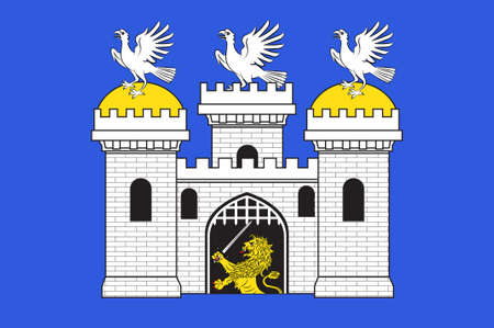 Flag of Sainte-Menehould is a commune in the Marne department in north-eastern France. 3d illustration
