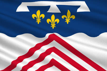 Drapeau d'Eure-et-Loir est un département français, nommé d'après les rivières Eure et Loir. Illustration 3d Banque d'images - 82608567