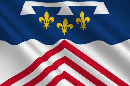 Drapeau d'Eure-et-Loir est un département français, nommé d'après les rivières Eure et Loir. Illustration 3d Banque d'images - 82607215