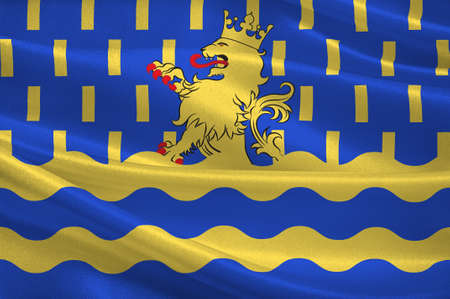 Flag of Doubs - department in eastern France, department of the region of Franche-Comte. 3d illustration Stock Photo