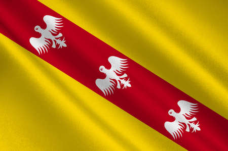 Flag of Lorraine is a cultural and historical region in north-eastern France, now located in the administrative region of Grand Est. 3d illustration