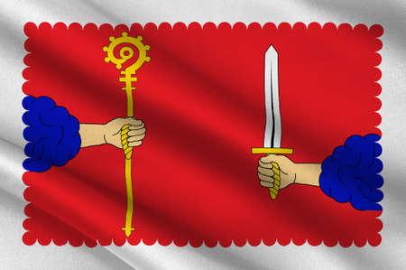 Vlag van Haute-Loire is een departement in Zuid-centraal Frankrijk. 3D illustratie Stockfoto
