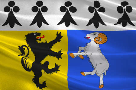 Flag of Finistere is a department of France in the extreme west of Brittany. 3D illustration