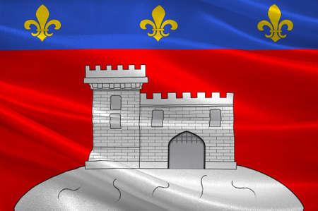Vlag van Montbrison is een gemeente in het departement Loire in Midden-Frankrijk. 3D illustratie