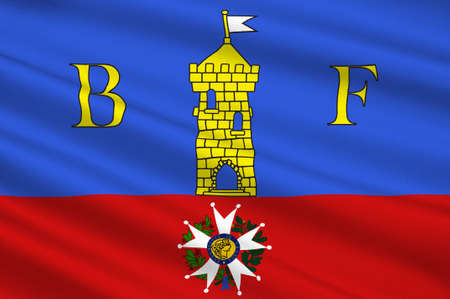 Flag of Belfort is a city in northeastern France in the Bourgogne-Franche-Comte region. 3d illustration Stock Photo