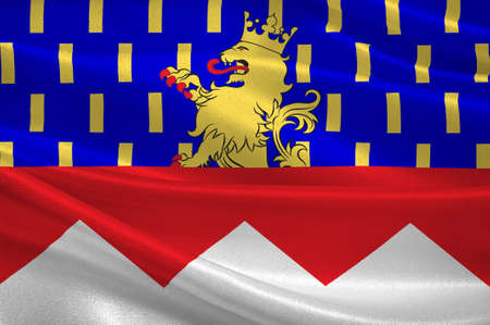 Flag of Jura is a department in the east of France named after the Jura mountains. 3d illustration Stock Illustration - 82668843