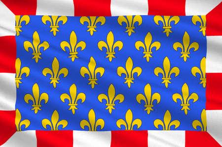 Drapeau de l'Indre-et-Loire est un département dans le centre-ouest de la France nommé après l'Indre et la Loire. Illustration 3D Banque d'images - 82653639