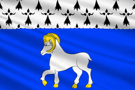 bretagne: Flag of Quimper is a commune and capital of the Finistere department of Brittany in northwestern France. 3D illustration