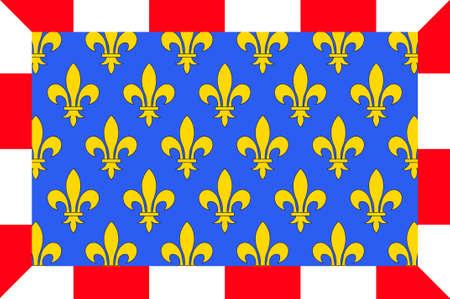Drapeau de l'Indre-et-Loire est un département dans le centre-ouest de la France nommé après l'Indre et la Loire. Illustration 3D Banque d'images - 82609226