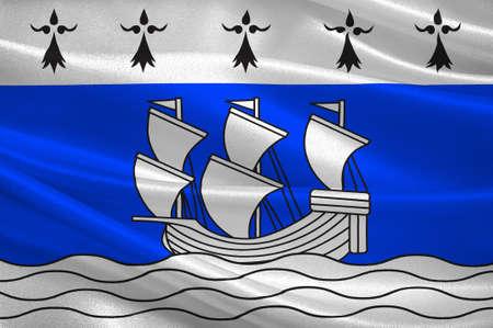 bretagne: Flag of Redon is a commune in the Ille-et-Vilaine department in Brittany in northwestern France. 3D illustration