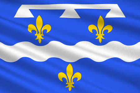Flag of Loiret is a department in north-central France. 3d illustration