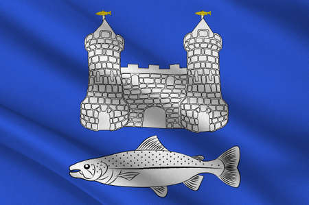 Flag of Chateaulin is a commune in the Finistere department in the region of Brittany in north-western France. 3D illustration Stock Photo
