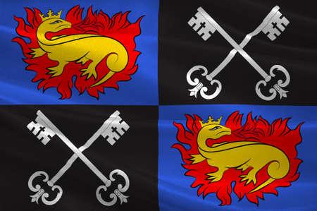 Flag of Romorantin-Lanthenay est une commune française, située dans le département du Loir-et-Cher et la région Centre. Illustration 3D Banque d'images - 82607309