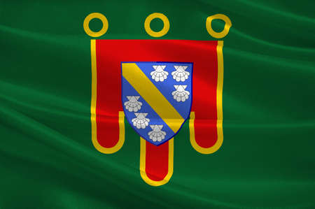 Flag of Cantal is a department in south-central France and is part of the current region of Auvergne-Rhone-Alpes, with its capital at Aurillac. 3d illustration Stock Photo