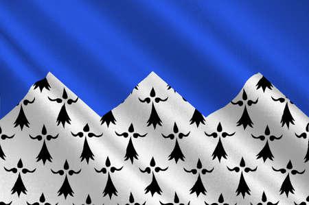 Flag of Cotes Armor dawniej o nazwie Cotes-du-Nord, to departament na północy Bretanii, w północno-zachodniej Francji. 3D ilustracji Zdjęcie Seryjne