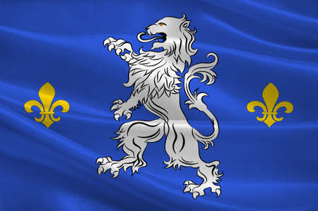 Drapeau de Nogent-le-Rotrou est une commune française située dans le département d'Eure-et-Loir et la région Rhône-Alpes. Illustration 3D Banque d'images - 82596557