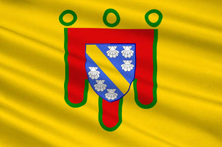 aurillac: Flag of Cantal is a department in south-central France and is part of the current region of Auvergne-Rhone-Alpes, with its capital at Aurillac. 3d illustration Stock Photo