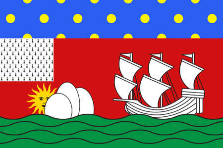 bretagne: Flag of Lorient is a commune and a seaport in the Morbihan department in Brittany in north-western France. 3D illustration