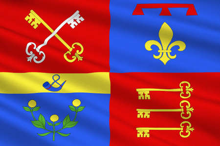 apt: Flag of Vaucluse is a department in the southeast of France. 3d illustration