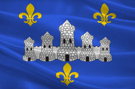 Flag of Chateau-Thierry is a French commune in department of the Aisne, in the administrative region of Hauts-de-France and in the historic Province of Champagne. 3d illustration