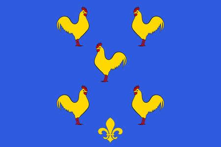 Vlag van Yssingeaux is een gemeente en sous-prefectuur in het departement Haute-Loire in Zuid-Midden-Frankrijk. 3D illustratie Stockfoto