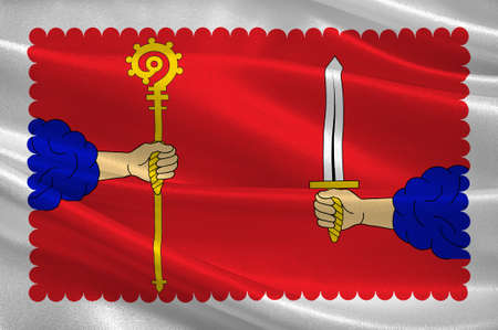 Vlag van Haute-Loire is een afdeling in Zuid-Midden-Frankrijk. 3d illustratie Stockfoto