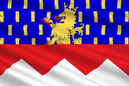 Flag of Jura is a department in the east of France named after the Jura mountains. 3d illustration