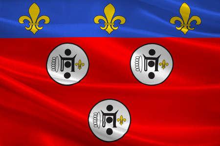 Drapeau de Chartres est une commune française, chef-lieu du département de l'Eure-et-Loir. Illustration 3D Banque d'images - 82609236