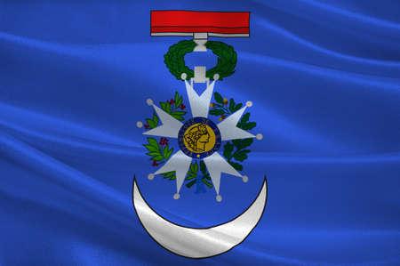 Vlag van Roanne is een gemeente in het departement Loire in Midden-Frankrijk. 3D illustratie Stockfoto