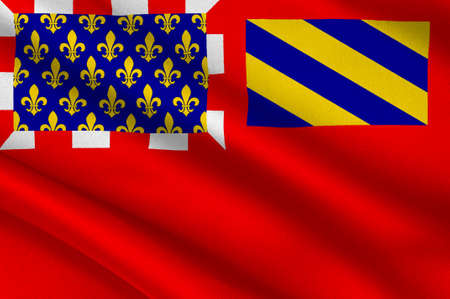 Flag of Dijon is a city in eastern France, capital of the Cote-dOr departement and of the Bourgogne-Franche-Comte region. 3D illustration Stock Photo