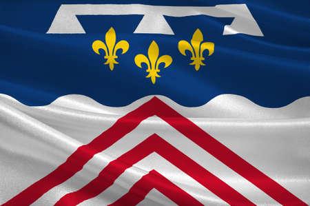 Drapeau d'Eure-et-Loir est un département français, nommé d'après les rivières Eure et Loir. Illustration 3d Banque d'images - 82668874