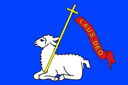 Flaga Lannion to miejscowość i gmina w departamencie Cotes-d'Armor w Bretanii, w północno-zachodniej Francji. 3D ilustracji