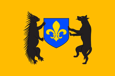 Flag of Blois is a city and the capital of Loir-et-Cher department in central France. 3D illustration