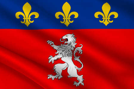 Flag of Lyon or Lyons is a city in east-central France, in the Auvergne-Rhone-Alpes region. 3d illustration