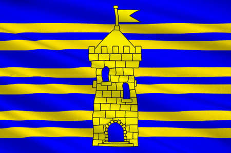 Flag of Territoire de Belfort  is a department in the Franche-Comte region of eastern France. 3d illustration Stock Photo