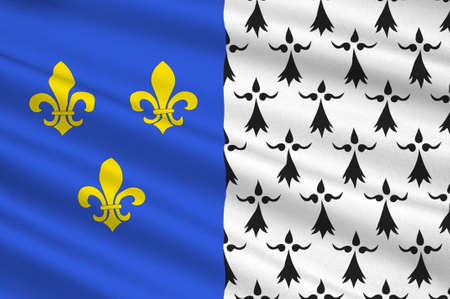 Flag of Brest is a city in the Finistere departement in Brittany in northwestern France. 3D illustration Stock Photo