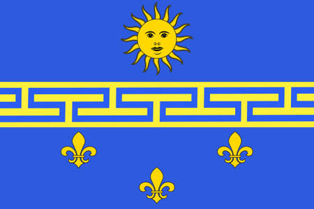 seine: Flag of Nogent-sur-Seine is a commune in the Aube department in north-central France. 3d illustration Stock Photo