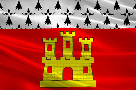 walled: Flag of Dinan is a walled Breton town and a commune in the Cotes-dArmor department in northwestern France. 3D illustration