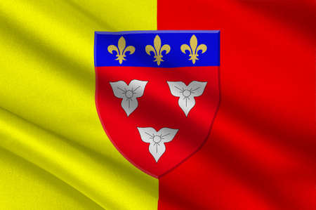 Flag of Orleans is a city in north-central France, it is the capital of the Loiret department and of the Centre-Val de Loire region. 3d illustration