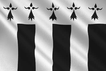 bretagne: Flag of Rennes is the capital of the region of Brittany, France. 3D illustration Stock Photo