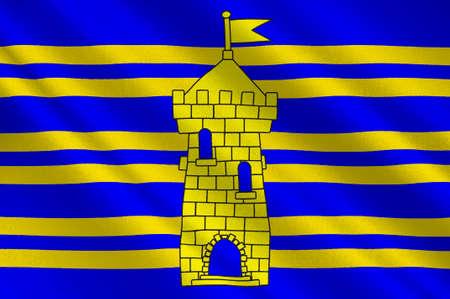 Flag of Territoire de Belfort  is a department in the Franche-Comte region of eastern France. 3d illustration Stock Illustration - 82653693