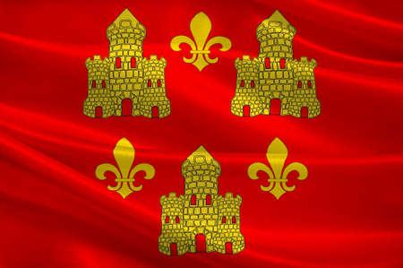 Drapeau de Chinon est une commune du département d'Indre-et-Loire dans la région Centre, en France. Illustration 3D Banque d'images - 82653830