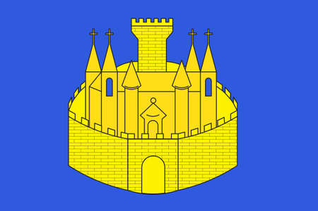Flag of Verdun is a small city in the Meuse department in Grand Est in northeastern France. 3D illustration