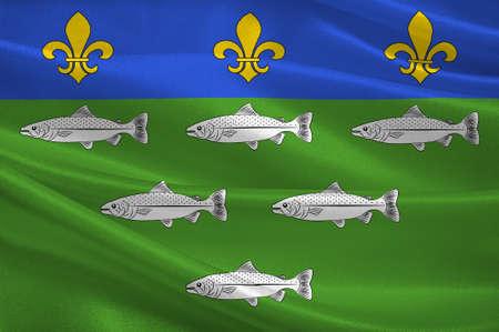 Flag of Loches est une commune française, située dans le département de l'Indre-et-Loire et la région Centre. Illustration 3D Banque d'images - 82607411