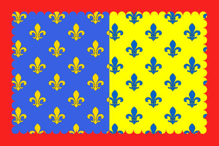 Flag of Saint-Flour is a commune in the Cantal department in the Auvergne region in south-central France. 3D illustration Banco de Imagens